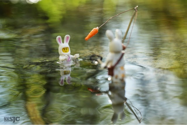 Mother bunny from The Runaway Bunny is fishing for her wayward son who has decided to be a fish instead of a bunny.