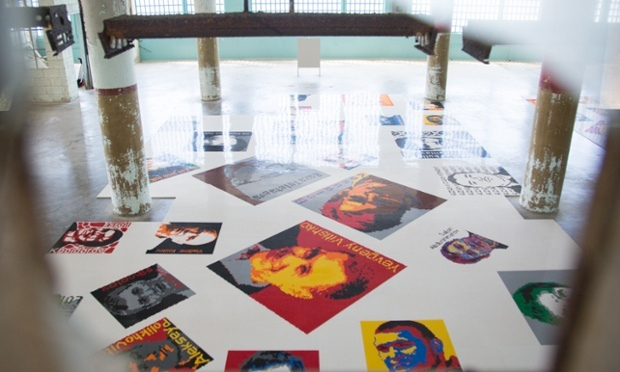 Trace, the show's most ambitious work, consists of six large carpets of Lego blocks that depict more than 175 prisoners of conscience, past and present Photograph: Mae Ryan